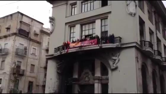 Protesta dei lavoratori della Sirti di Casandrino.