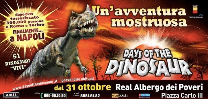 I dinosauri sono arrivati a Napoli. Dal 31 ottobre all'Albergo dei Poveri in Piazza Carlo III: Days of the Dinosaur