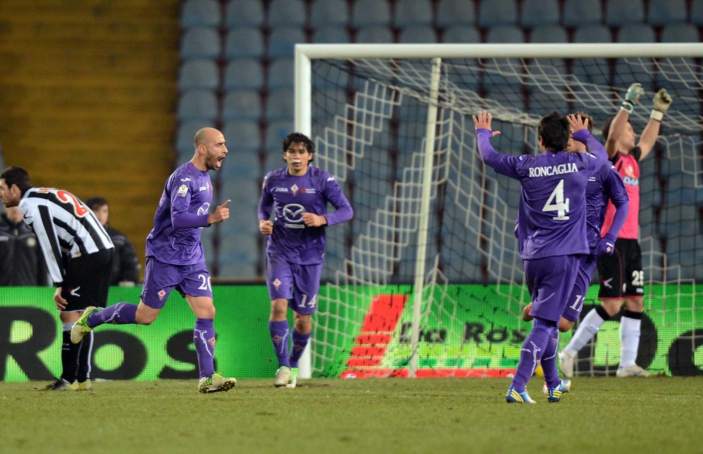 Ottavi Tim Cup: Udinese-Fiorentina 0-1, Borja Valero manda avanti i viola.