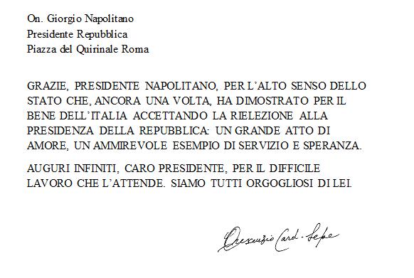 """""""Siamo orgogliosi di lei"""" Dalla curia di Napoli il ringraziamento a Napolitano."""