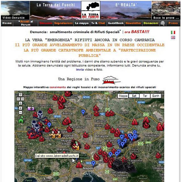 Mappa interattiva censimento dei roghi tossici e di incenerimento-scarico dei rifiuti speciali