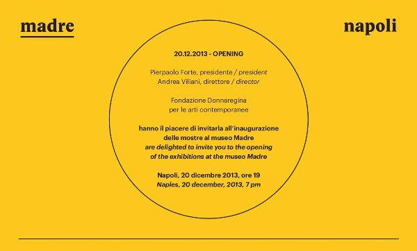 Museo MADRE, inaugurazione della stagione espositiva il 20 dicembre