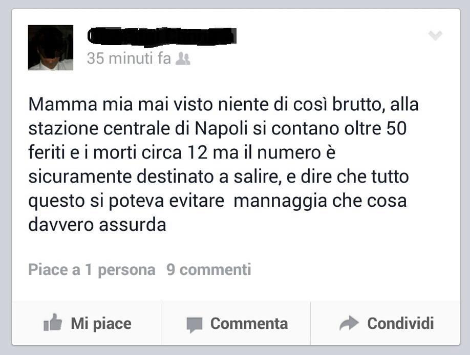 Morti e feriti alla stazione di Napoli: ma è un fake, e ora rischia la denuncia