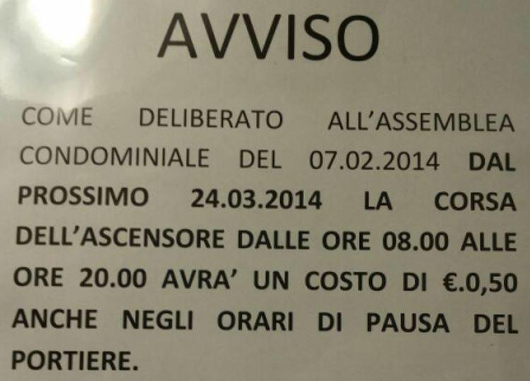 Caro prezzi: a Napoli rincaro anche per un viaggio in ascensore