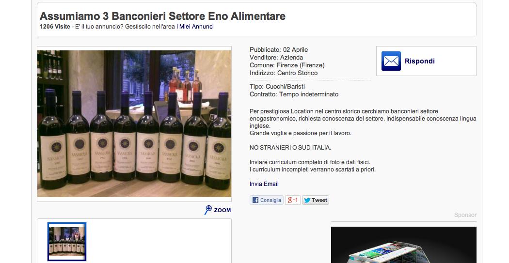 Annuncio choc su E-bay: a Firenze si cercano baristi, no a stranieri e meridionali