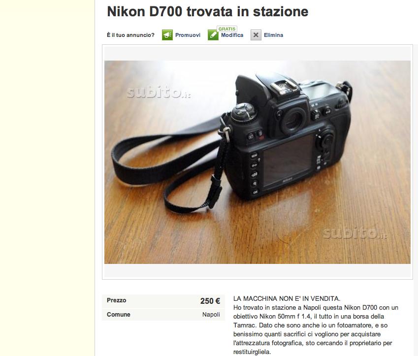 Trova una fotocamera smarrita a Piazza Garibaldi e mette l'annuncio per restituirla