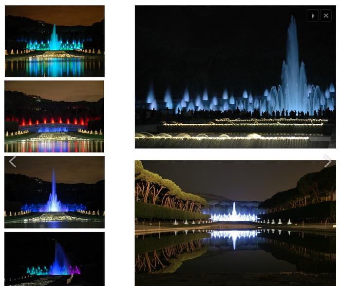 La fontana Esedra al centro dell'Isola delle Passioni