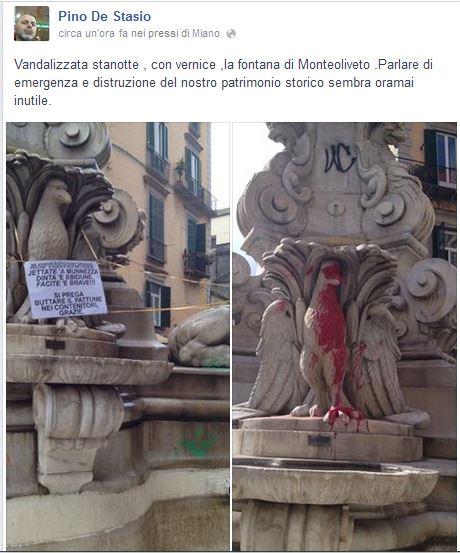 Vandali a Piazzetta Trinità Maggiore: la Fontana di Monteoliveto è diventata rossa