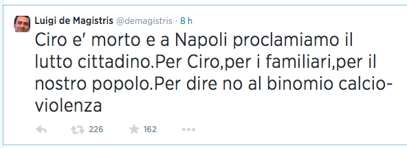 tweet de magistris ciro esposito