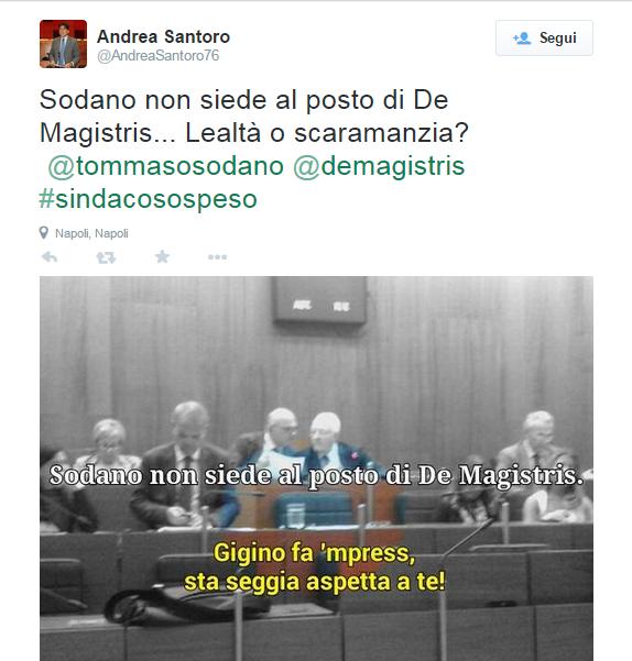 Sodano non siede sulla poltrona di De Magistris