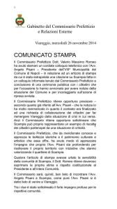 La nota diffusa dal commissario prefettizio