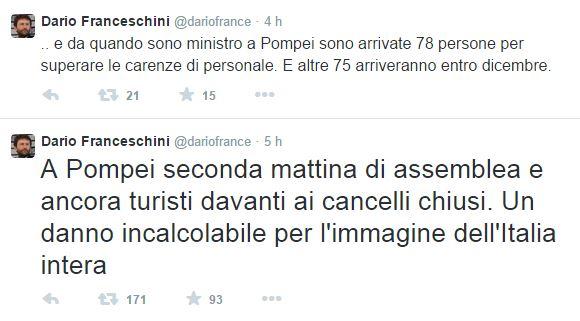 tweet di Franceschini su Pompei