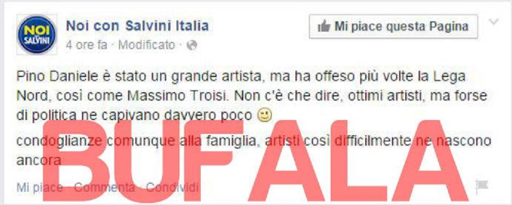 """Salvini contro Pino Daniele: """"quella pagina Facebook è una bufala"""""""