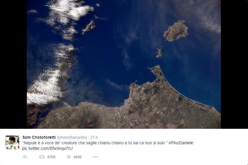 Pino Daniele arriva nello spazio: ecco il messaggio della Cristoforetti
