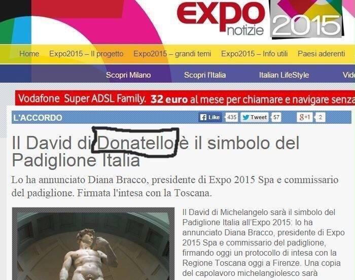 Expo 2015, la gaffe: David di Donatello? No, di Michelangelo