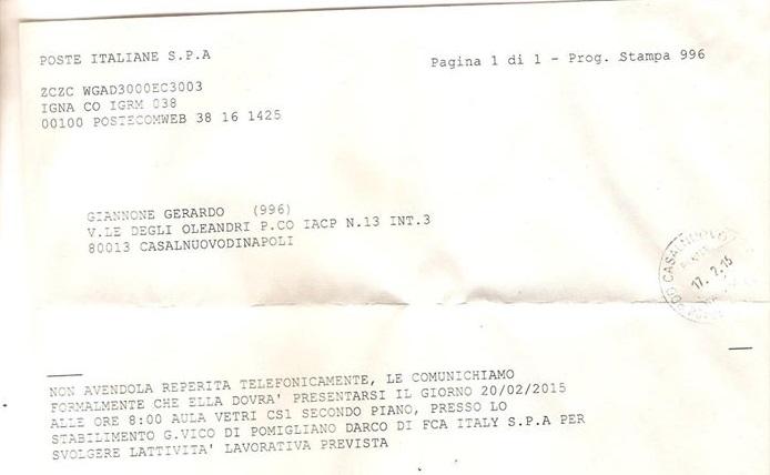 Telegramma Fiat Gerardo Giannone