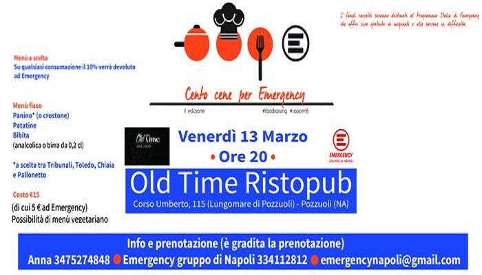 #100cene per Emergency, questa sera al Old Time Ristopub di Pozzuoli