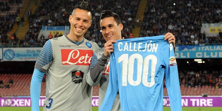 Josè Callejon festeggia le 100 presenze con la maglia del Napoli