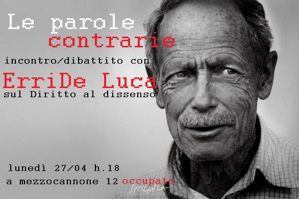 """""""Le parole contrarie"""": un incontro/dibattito con Erri De Luca"""