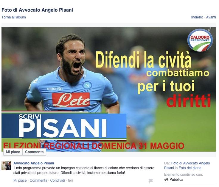 Higuain testimonial della campagna elettorale di Angelo Pisani, il Napoli smentisce