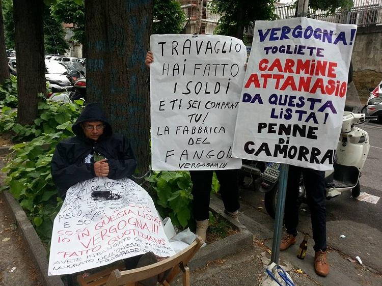 Carmine Attanasio sospende il presidio sotto la Rai ma non lo sciopero della fame