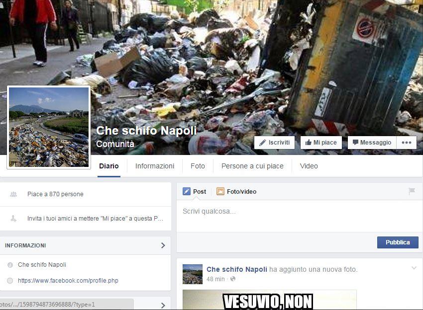 """""""Che schifo Napoli"""": la pagina Facebook che indigna il web"""