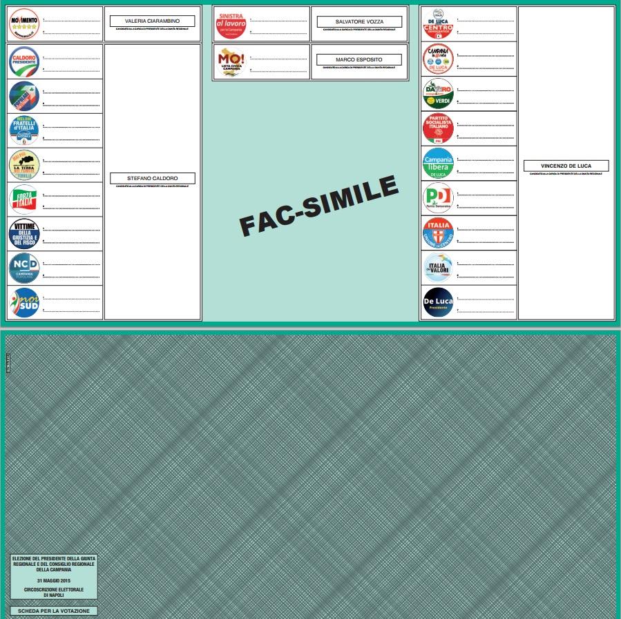 Regionali Campania 2015: ecco il fac-simile scheda elettorale