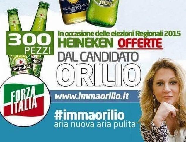 Imma Orilio, candidato per Forza Italia, offre 300 birre Heineken a chi la voterà