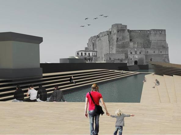 Piattaforma tra il mare e Castel dell'Ovo: