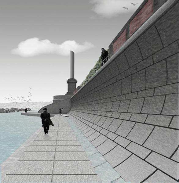Muro per passeggiare sotto il lungomare Caraccialo: il progetto del Waterfront