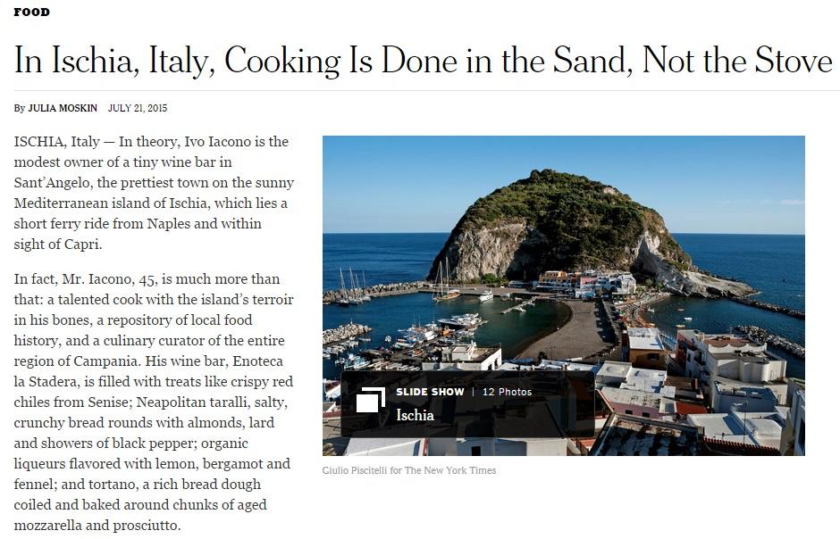 """New York Times affascinato da Ischia """"Si cucina nella sabbia, non ai fornelli"""""""