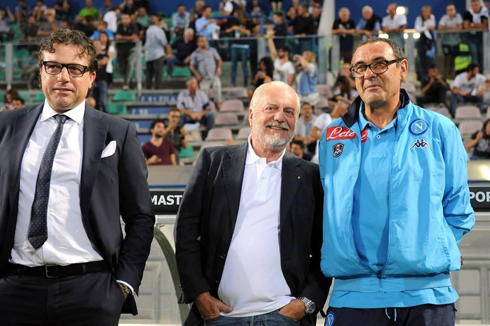 Calciomercato del Napoli Giuntoli-De-Laurentiis-Sarri