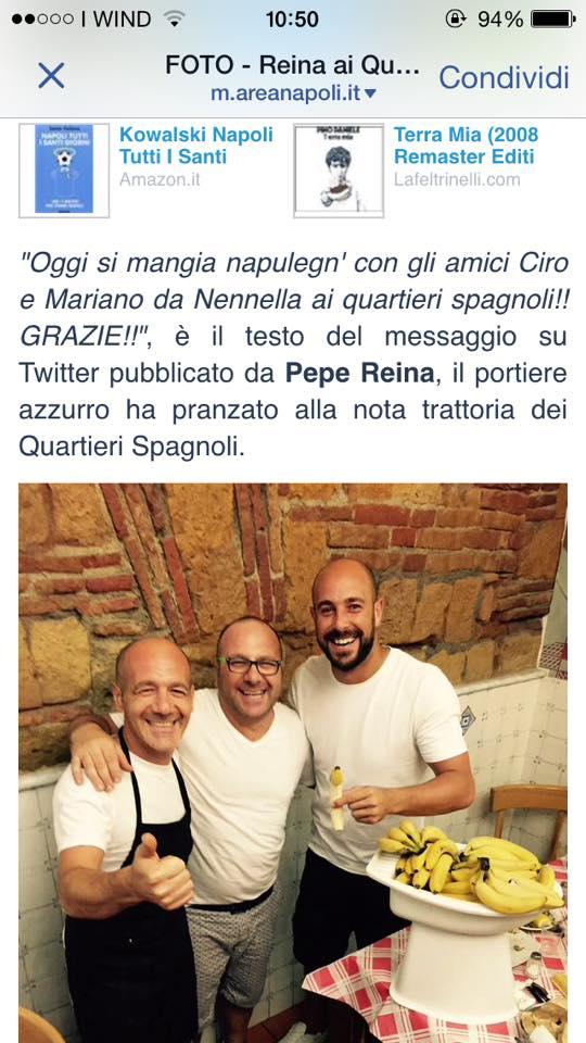 Pepe Reina da Nennella trattoria Napoli