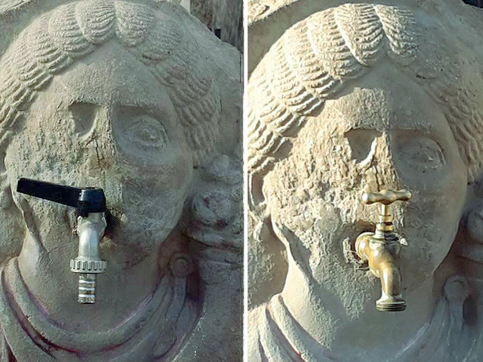 Pompei, rubinetto di plastica su fontana di duemila anni fa