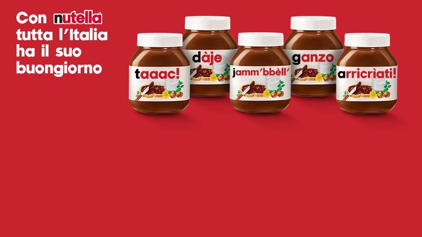 Nutella: arrivano i barattolini con le scritte in Napoletano e nei dialetti italiani