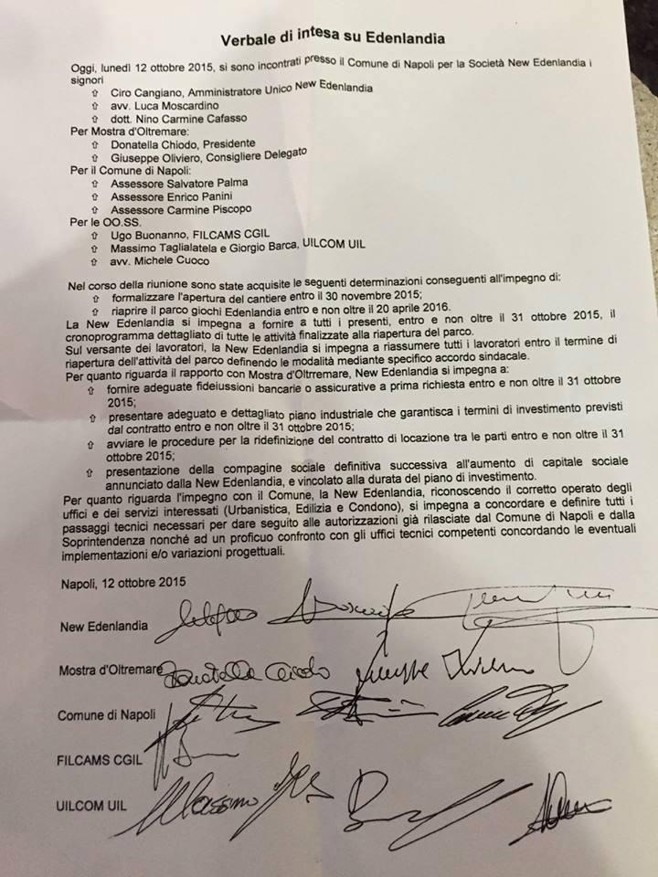 C'è l'accordo: Edenlandia riaprirà entro il 20 aprile 2016