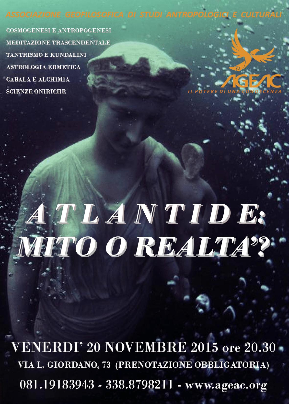 """""""Atlantide, mito e realtà"""": venerdì 20 novembre per investigare sui segreti della razza atlantidea"""