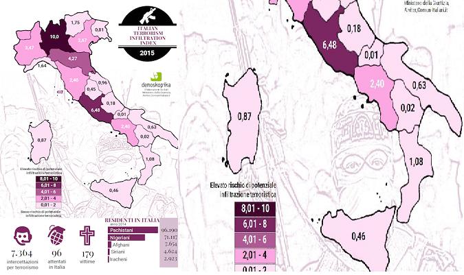 Terrorismo in Italia, classifica delle regioni a rischio: Campania al 6° posto