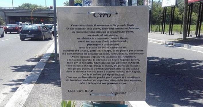 La lapide in memoria di Ciro Esposito torna al suo posto