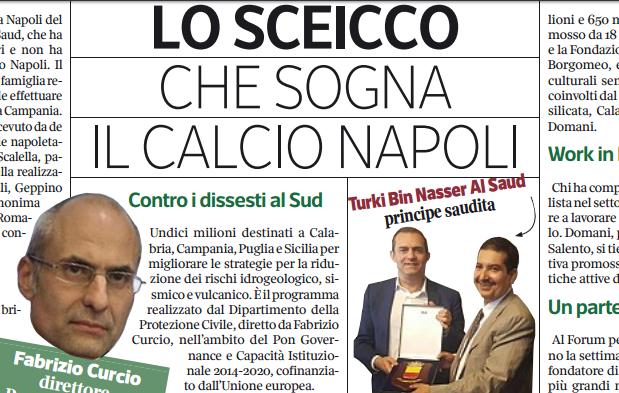 Nasser Al Saud, lo sceicco che sogna il Napoli. Ha già incontrato de Magistris