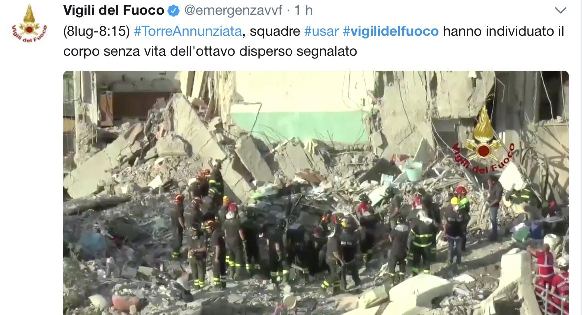 Torre Annunziata, crollo palazzina: estratto dalle macerie anche l'ottavo corpo, il piccolo Salvatore di 8 anni