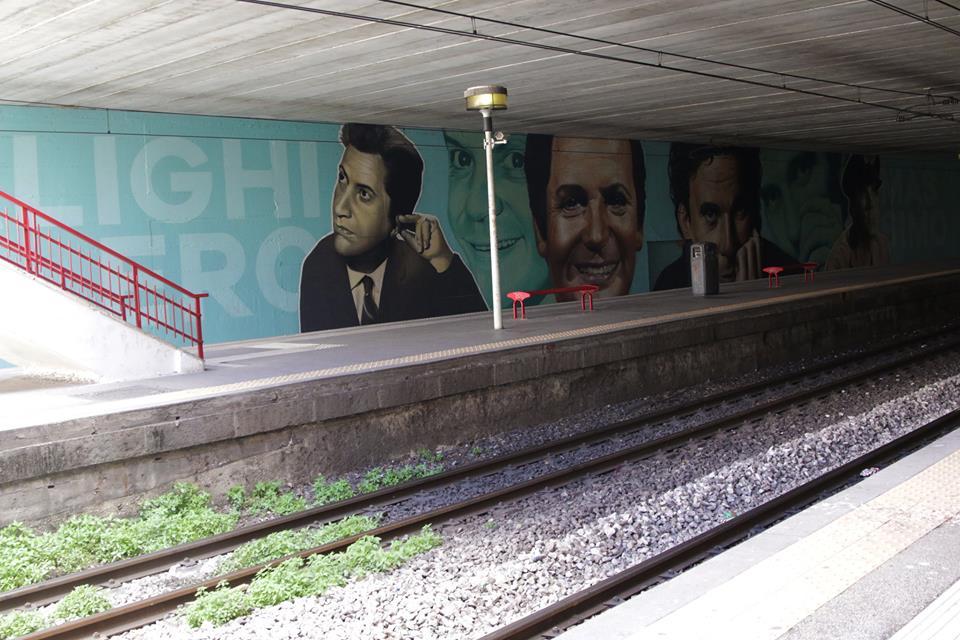 Ripulito il murales dedicato a Massimo Troisi e Alighiero Noschese