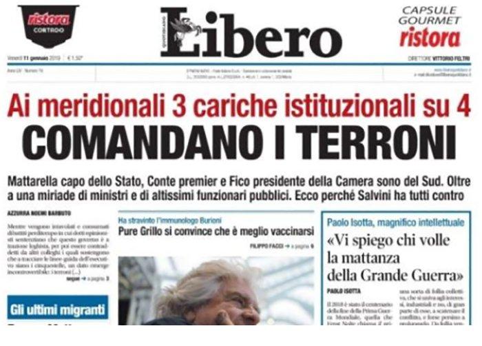 'Comandano i terroni': scoppia la bufera dopo il titolo sul quotidiano 'Libero'
