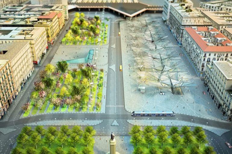 Arriva il parco urbano a Piazza Garibaldi, piantati i primi alberi