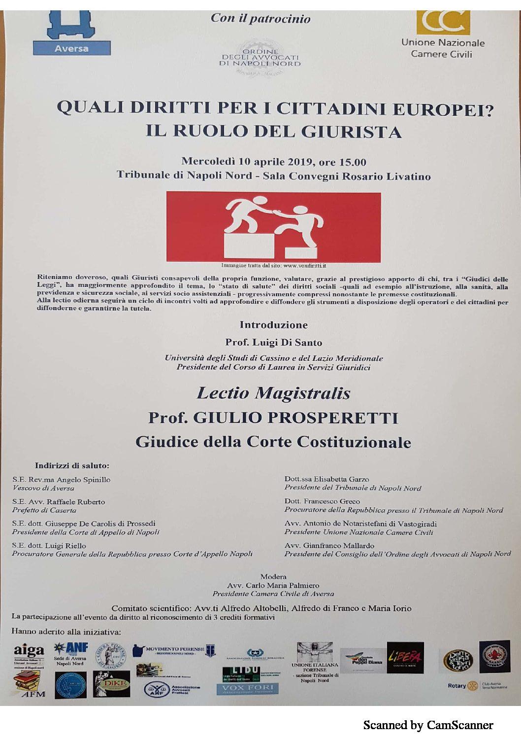 Tribunale di Napoli Nord: Mercoledi 10 aprile lectio magistralis del Prof. Prosperetti sulla tutela dei diritti sociali e il ruolo del giurista