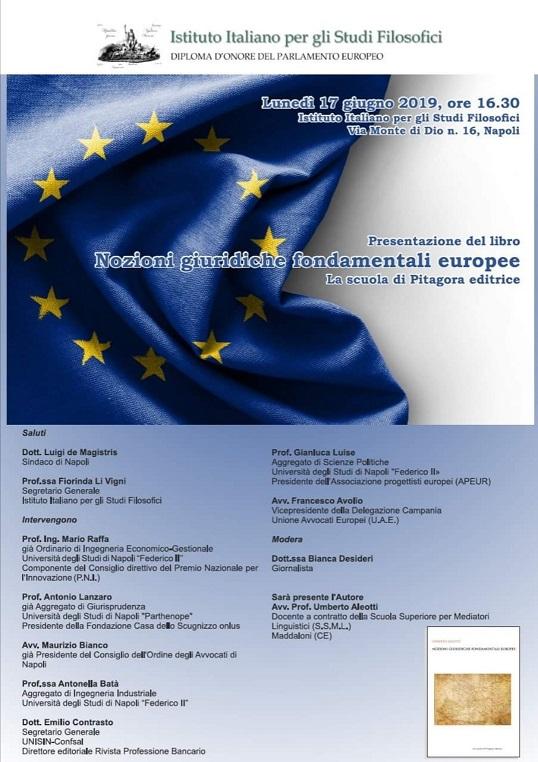 """Oggi la presentazione del libro """"Nozioni di giuridiche fondamentali europee"""" di Umberto Aleotti"""