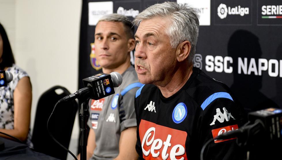 """Barcellona-Napoli, Ancelotti: """"E' importante confrontarsi con squadre così forti"""""""