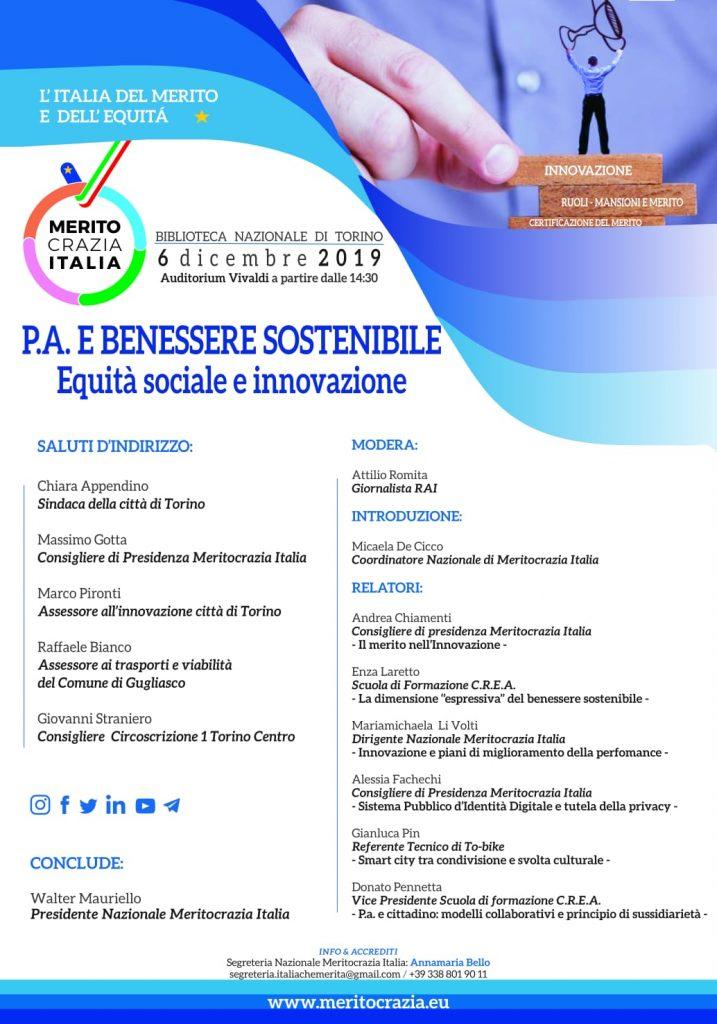 Meritocrazia: PA e benessere sostenibile, il 6 dicembre a Torino