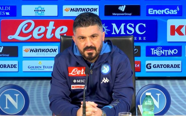 """Napoli, Gattuso: """"Ora la palla scotta, ripartiamo dall'abbraccio De Laurentiis-Insigne"""""""