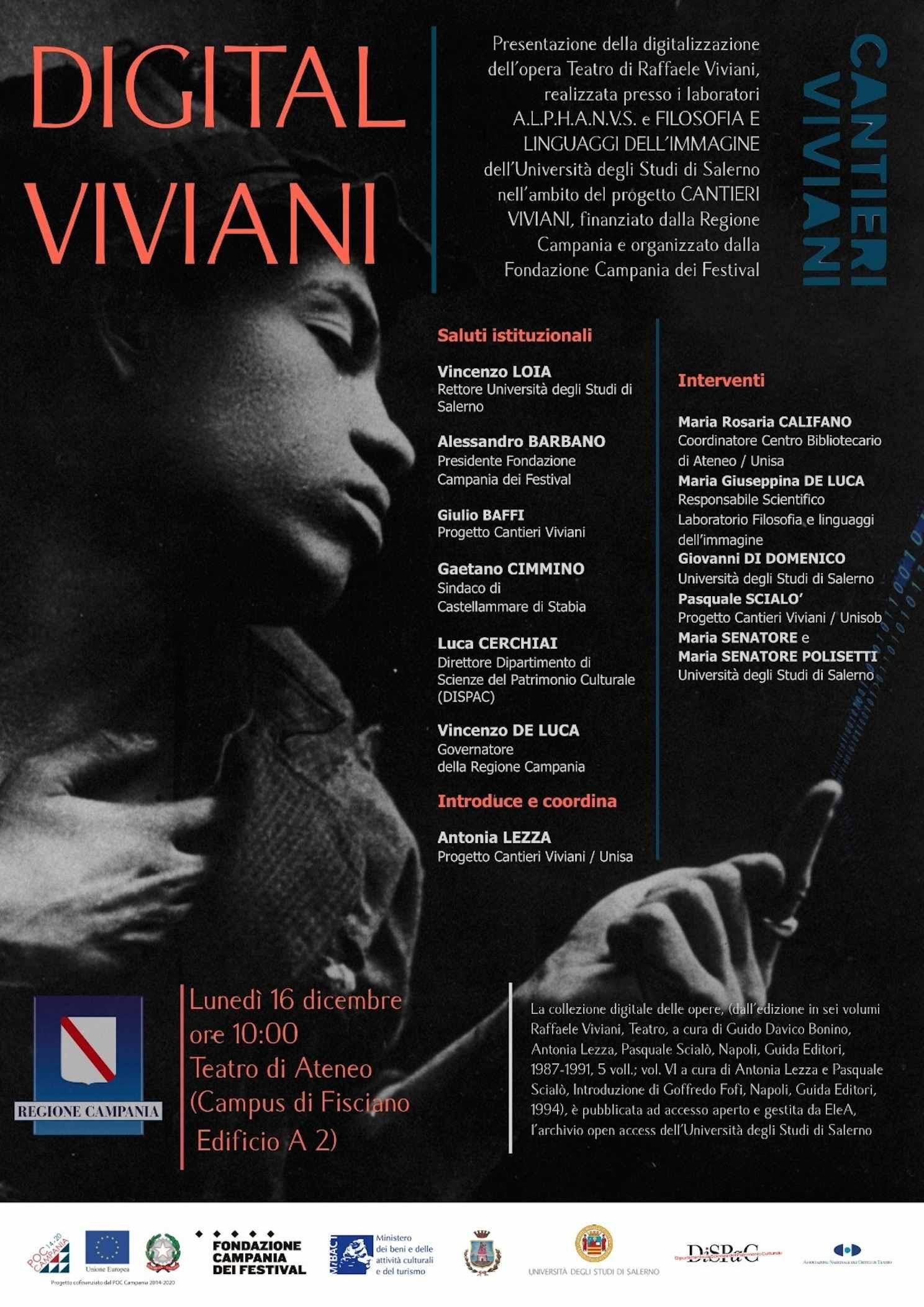 Lunedì 16 dicembre la presentazione della digitalizzazione dell'opera Teatro di Raffaele Viviani